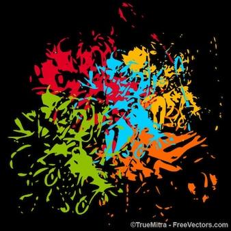 Colorfu schmutzigen splash auf schwarzem