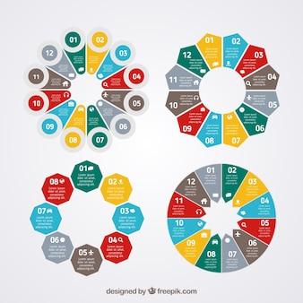 Colorful kreisförmige diagramme
