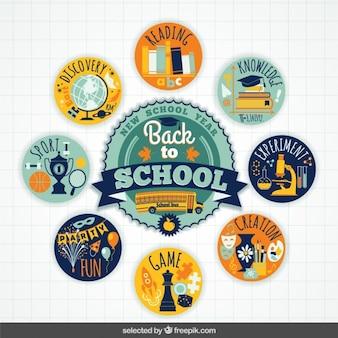Colorful zurück zu schule abzeichen sammlung