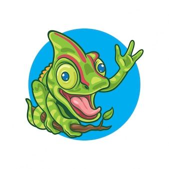 Colorfull glückliche chamäleon-wellenartig bewegende handillustration