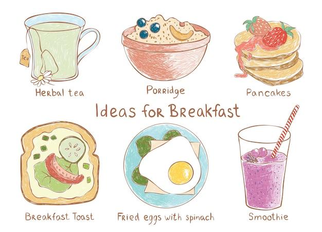 Colorfull-vektorsatz ideen zum frühstück. kräutertee, brei, pfannkuchen, toast, eier, s
