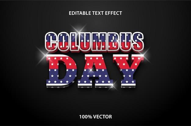 Columbus day editierbarer texteffekt 3-dimensionaler prägestil premium-vektor