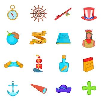 Columbus day icons set