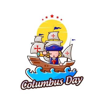 Columbus day illustration mit maskottchen