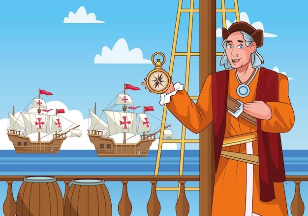 Columbus-tagesfeier-szene von christopher, der kompassführerszene anhebt.
