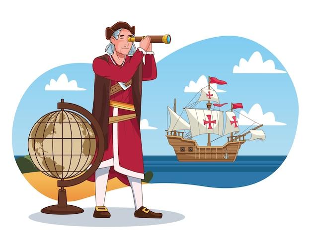 Columbus-tagesfeier-szene von christopher unter verwendung des teleskops in der karavellenszene.
