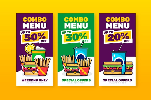 Combo bietet fast-food-banner-pack