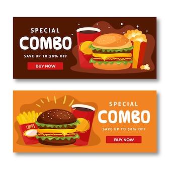 Combo bietet fast-food-banner-sammlung