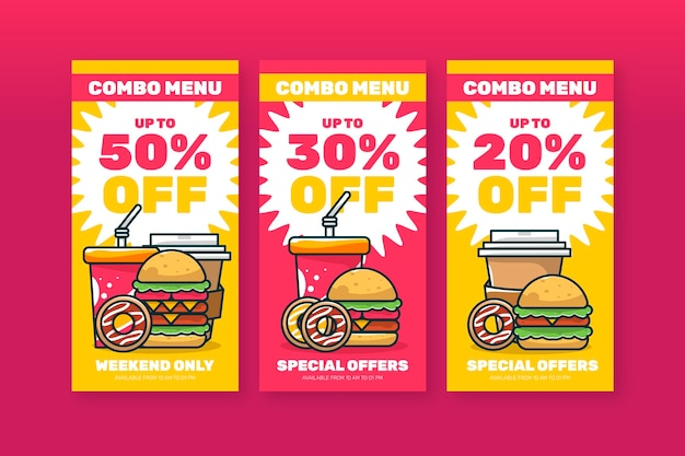 Combo bietet fast-food-banner-set