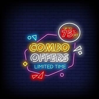 Combo bietet neon signs style text