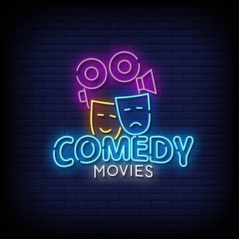 Comedy movies neon signs style text vector