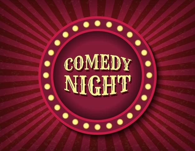Comedy night zirkus vorlage. hell leuchtendes retro-kino-neonschild.
