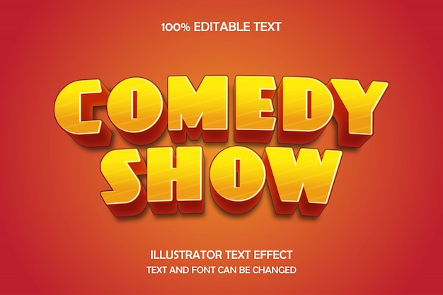 Comedy-show, 3d bearbeitbarer texteffekt gelbe abstufung orange moderner schatten-comic-stil