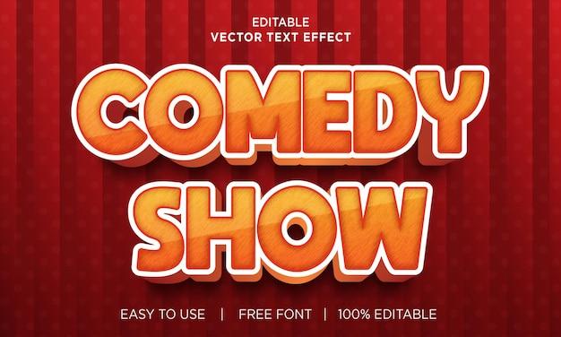 Comedy-show bearbeitbarer texteffekt mit premium-vektor