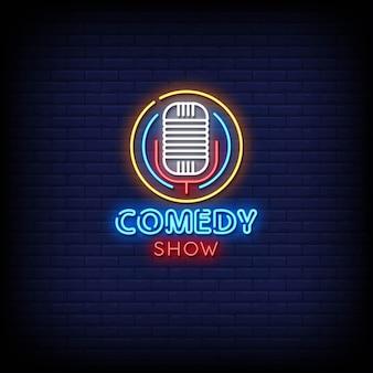 Comedy show leuchtreklamen stil text