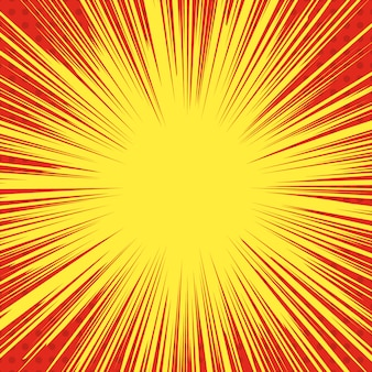 Comic-art explosion hintergrund. superhelden-geschwindigkeitslinien. element für plakat, druck, karte, banner, flyer. bild