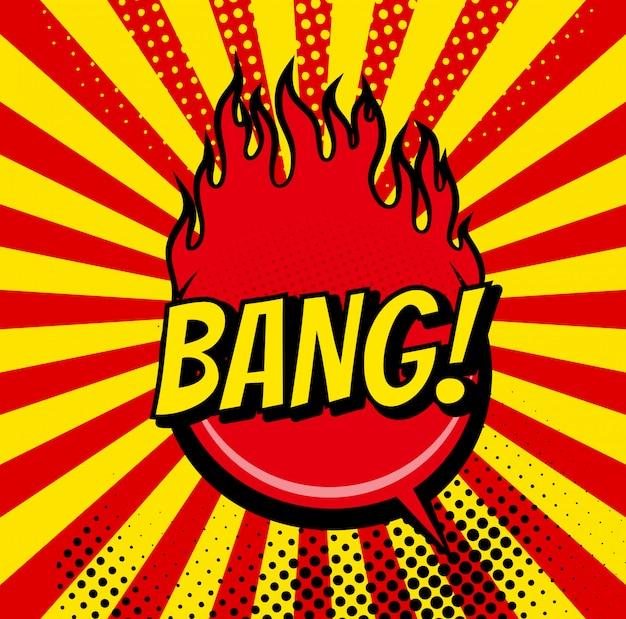 Comic-bläschen und sound explosionen-symbol mit sonnenstrahlen