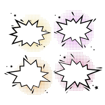 Comic-buch-blasen cartoon-explosionen lustige komische redewolken satz von explosionsblase s