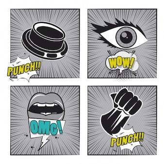 Comic-buch-geschichten-pop-arten-karikatur in schwarzweiss