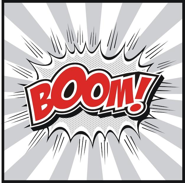 Comic-buch-sprechblase mit boom! worte symbole retro comics