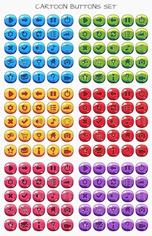 Comic-button-set-pack, gui-element für mobiles spiel