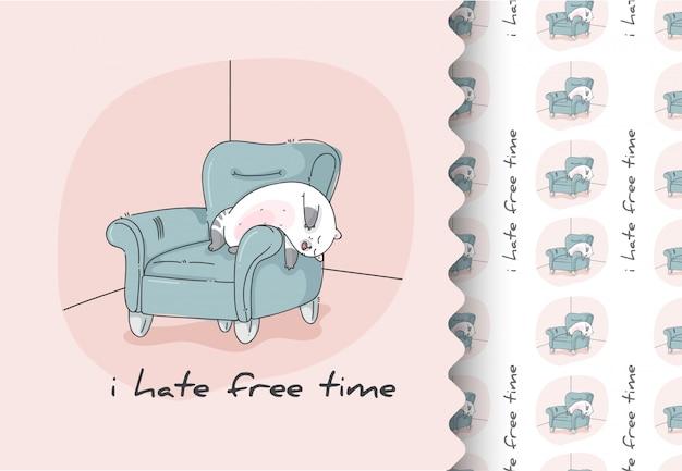 Comic cartoon flaches kätzchen, das niedlich auf sofa schläft