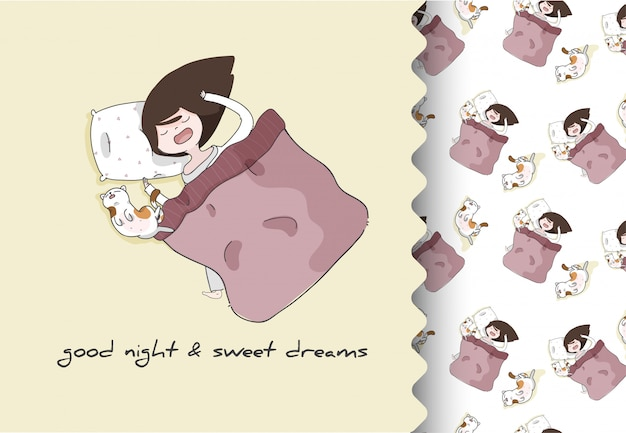 Comic cartoon flaches mädchen mit kätzchen, das niedlich schläft