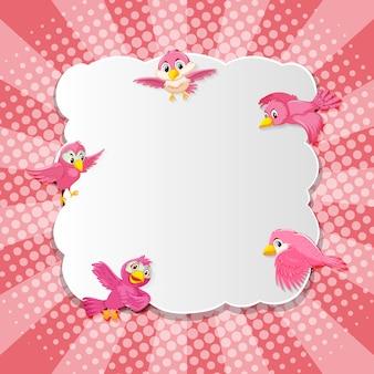 Comic-cartoon-stil der vogel-phantasie-fahne