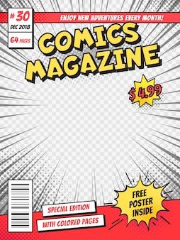 Comic-cover. comics bucht titelseite, lustige lokalisierte schablone des superhelden zeitschrift