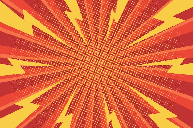 Comic dynamischer grüner hintergrund mit radialen strahlen und gepunkteten humoreffekten
