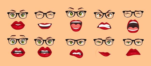 Comic-emotionen cartoon icons set isoliert