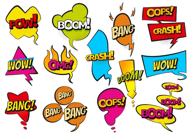 Comic farbige hand gezeichnete sprechblasen. stellen sie retro-cartoon-aufkleber ein. lustige illustration. comic-text wow, boom, bang collection soundeffekte im pop-art-stil.