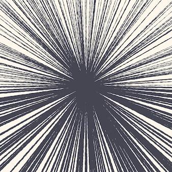 Comic handgezeichnete radiale tintenlinien moderne grunge textur abstrakten hintergrund