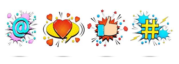 Comic helle explosive bannersammlung mit bunten sprechblasen