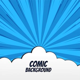 Comic-hintergrund mit wolken und strahlen