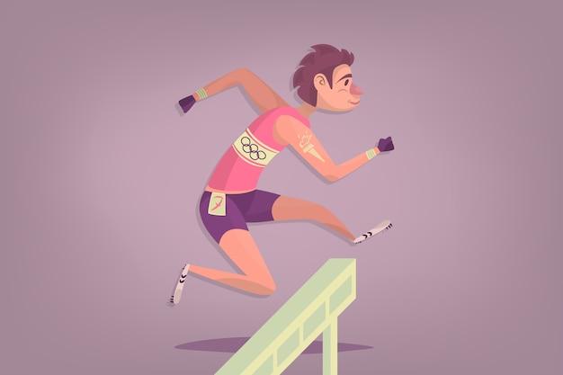Comic hürdenläufer sportler