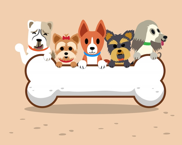 Comic-hunde mit knochen