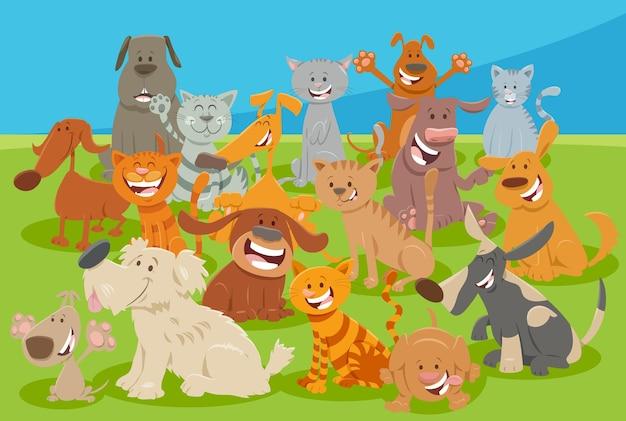 Comic-hunde- und katzen-comic-tierfigurengruppe