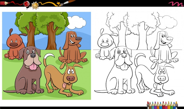 Comic hunde und welpen gruppe malbuch seite