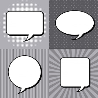 Comic-icons über grunge hintergrund vektor-illustration