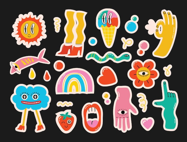 Comic-jugendaufkleber, aufnäher im 70er 80er, 90er rock, pop-art-stil. verschiedene emotionen, text. buntes set