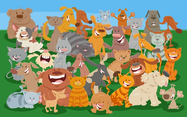 Comic-katzen- und hunde-comic-tierfigurengruppe