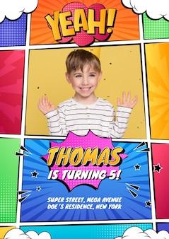 Comic-kindergeburtstags-einladungsvorlage