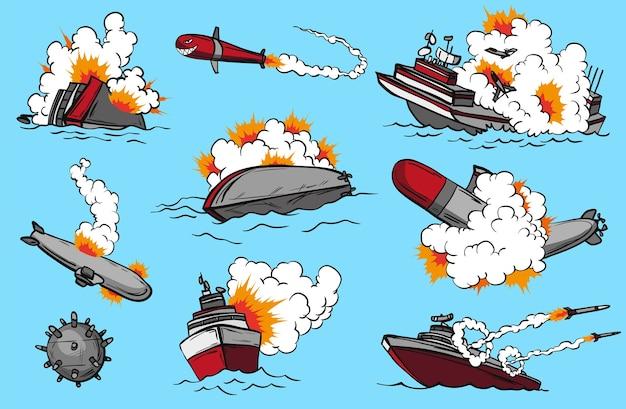 Comic-kriegsschiffe eingestellt. sammlung von schiffen, die raketen abschießen oder explodieren. militärisches eingreifen. pop-art-konzeptikonen für comic-seite oder app-dekoration.