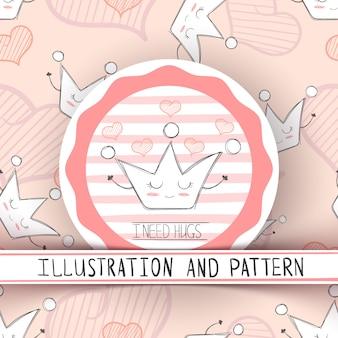 Comic-krone zeichen. süße illustration und muster. hand zeichnen