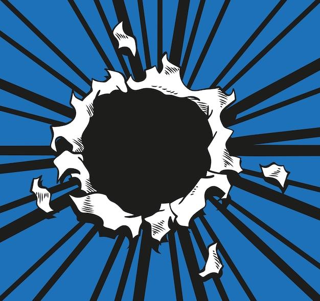 Comic-lochpapier wird durch boom-explosion zerrissen. kreisloch in der mitte auf blauem hintergrund. comics