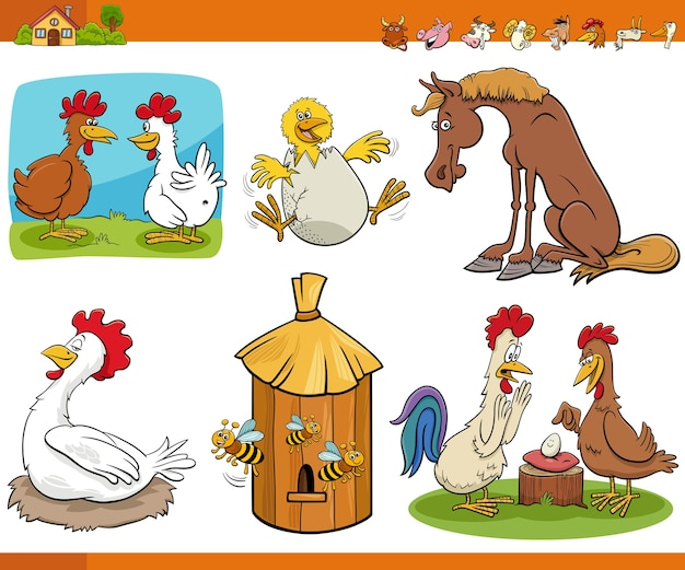 Comic lustige nutztier-comicfiguren eingestellt