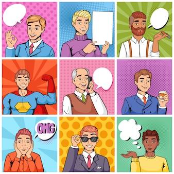 Comic-mann popart cartoon geschäftsmann charakter sprechen blase rede oder comicguy ausdruck illustration männliche gruppe von männern in pop-art-mode-stil