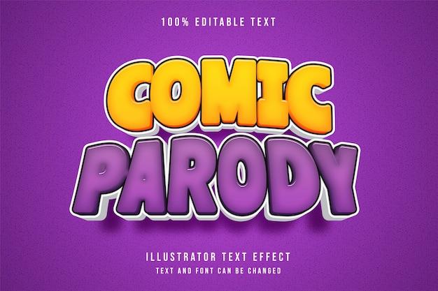 Comic-parodie, 3d bearbeitbarer texteffekt gelbe abstufung lila comic-effekt