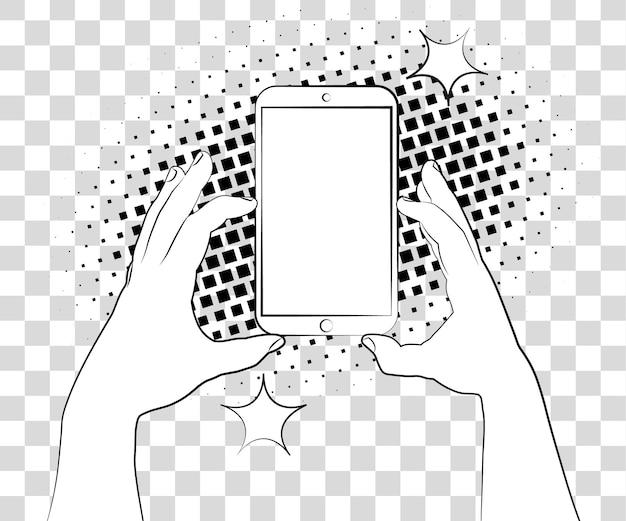 Comic-phablet mit halbtonschatten hand hält smartphone-vektor auf hintergrund isoliert